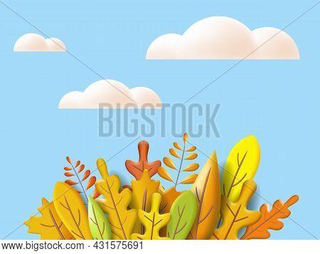 Autumn Leaves 3d Yellow, Red, Brown, Orange Colors. Fall Bouquet, White Cloud. Minimal 3d Render Pla
