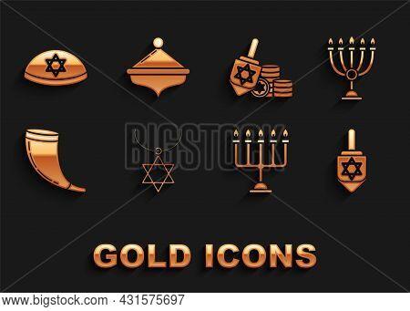 Set Star Of David Necklace On Chain, Hanukkah Menorah, Dreidel, Traditional Ram Horn, Shofar, And Co