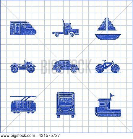 Set Hatchback Car, Bus, Fishing Boat, Bicycle, Tram And Railway, All Terrain Vehicle Or Atv Motorcyc
