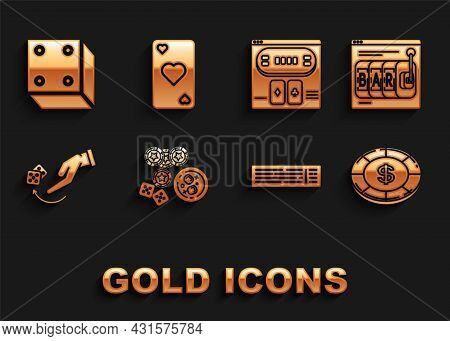 Set Casino Chips, Game Dice And Glass Of Whiskey With Ice Cubes, Online Slot Machine, Dollar Symbol,