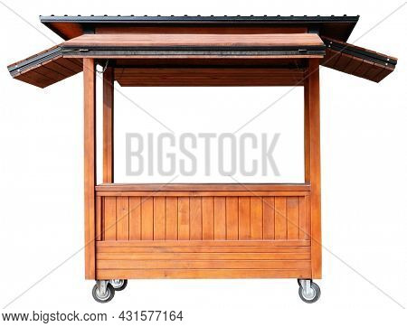 Street market stand stall with awning and wood pillars isolated on white background. Small business concept. Stand with wheels for selling