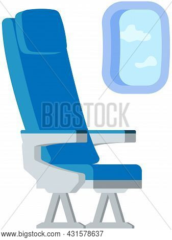Comfortable Blue Seat And Porthole In Airplane Isolated On White Background. Airplane Passenger Plac