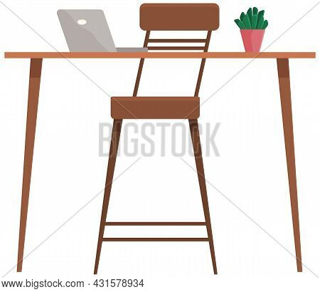 Modern Workplace With Computer Flat Design. Office Chair And Desk With Laptop, Potted Plant Isolated