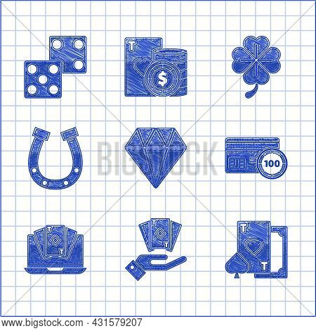 Set Diamond, Hand Holding Deck Of Playing Cards, Playing With Heart, Credit, Online Poker Table Game