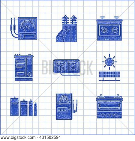 Set Electrical Outlet, Panel, Car Battery, Solar Energy And Sun, Battery, And Ampere Meter, Multimet