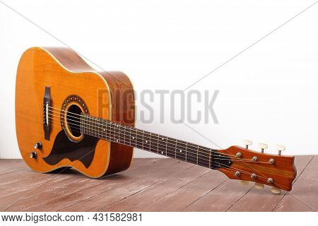 Musical Instrument - View Very Rare Vintage Acoustic Guitar Folk Country Wood And White Background