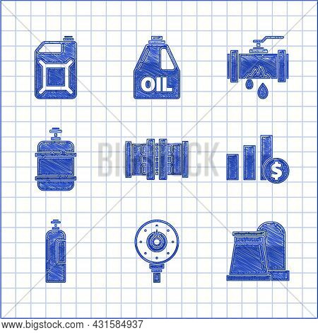 Set Industry Metallic Pipes And Valve, Pie Chart Infographic Dollar, Industrial Cylinder Tank, Propa