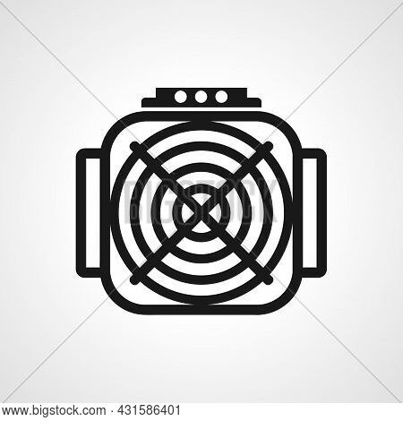 Asic Miner Line Icon. Asic Miner Isolated Simple Vector Icon.