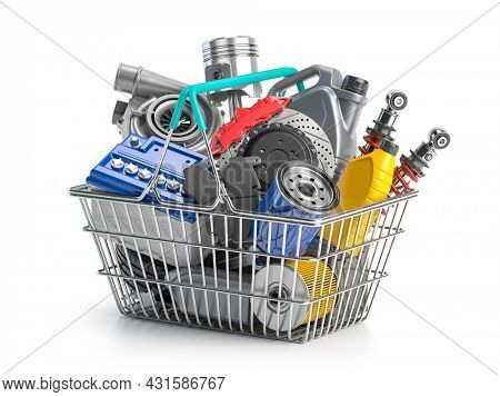 Car parts and auto spare in shopping basket isolated on white. 3d illustration