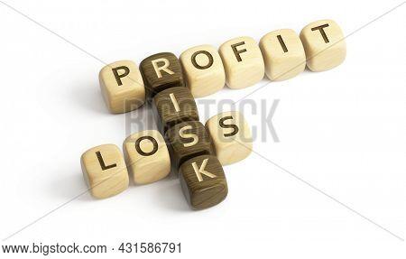 Profit, Loss and Risk concept. Profit, Loss, Risk wooden cubes crossword - 3d rendering