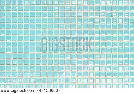Blue Pastel Ceramic Wall And Floor Tiles Abstract Background. Design Geometric Mosaic Texture Decora