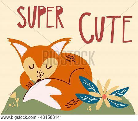 Cute Cartoon Fox Baby Sleeping. The Inscription Letters Super Cute. Sleeping Fox On The Forest Lawn.