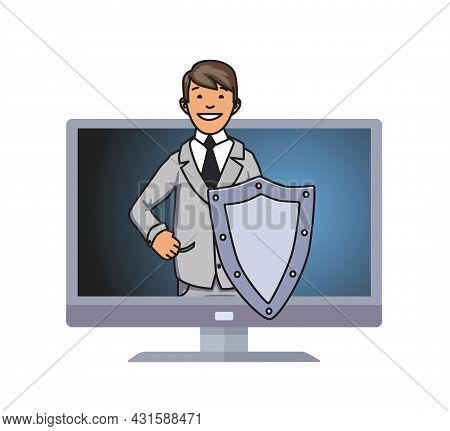 Cybersecurity Concept. A Man With A Shield Looking From A Computer Screen. Firewall And Antivirus Sy