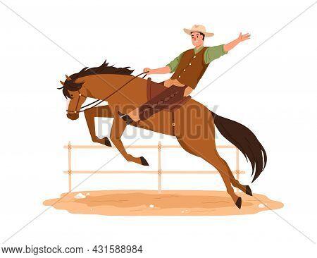 Happy Western American Cowboy In Hat Riding Horse. Texas Man On Horseback. Wild West Rider Of Bronco