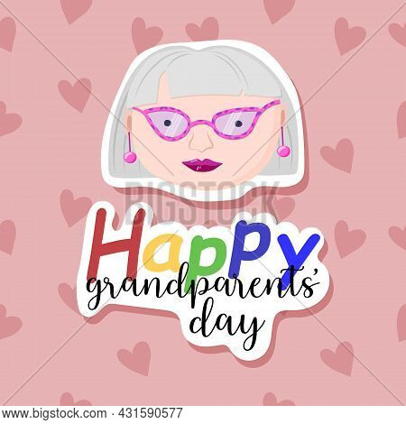Abstract Background With Grandmothers And Hearts. Sticker Effect. Old Man. Happy Grandparents Day Gr