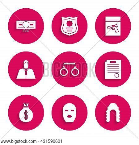 Set Handcuffs, Thief Mask, Judge Wig, The Arrest Warrant, Money Bag, Lawyer, Attorney, Jurist, Evide