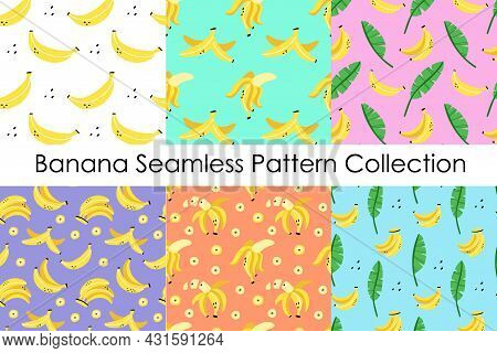 Banana Seamless Pattern Set. Exotic Tropical Fresh Fruit, Whole And Sliced, Bananas Peel, Cartoon Mi