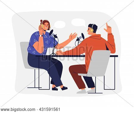 People Recording Podcast. Man And Woman In Headphones Talking And Interviewing For Radio Broadcast.