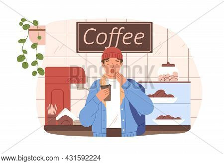 Sleepy Yawning Man With Takeaway Coffee Cup On Early Morning. Drowsy Person Waking With Coffe In Cof