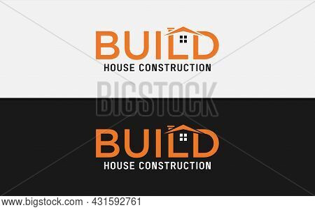Build Logotype Construction With Abstract House Concept. Vector Logo Illustration. Graphic Design El
