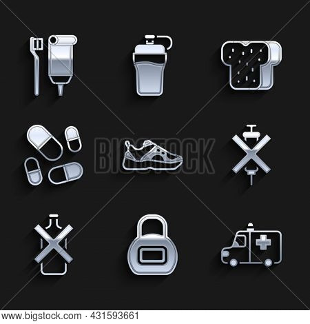 Set Sport Sneakers, Kettlebell, Ambulance And Emergency Car, No Doping Syringe, Alcohol, Vitamin Pil