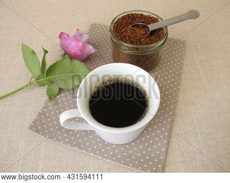A Cup Of Instant Coffee From Soluble Bean Coffee