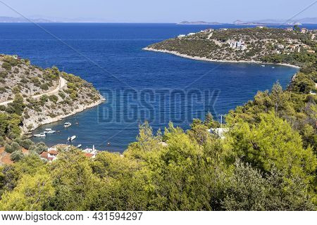 Panoramic View Of High Mountains, Village And Vast Sea From A Cliff On A Summer, Sunny Day (greece,