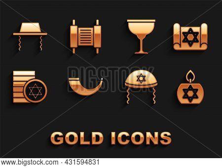 Set Traditional Ram Horn, Shofar, Torah Scroll, Burning Candle, Jewish Kippah, Coin, Goblet, Orthodo