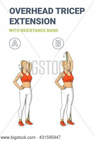 Girl Doing Overhead Tricep Extension Home Workout Exercise With Resistance Band Outline Guidance.