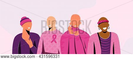 Breast Cancer Awareness Month October Banner With Diverse Hairless Women Group With Pink Support Rib