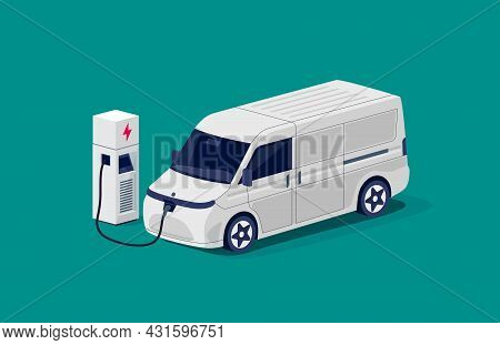 Isometric Electric Cargo Van Charging Parking At The Charger Station With A Plug In Cable. Flat Vect