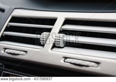 Car Air Conditioning In Compact Car Close Up