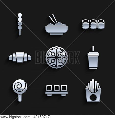 Set Pizza, Sushi On Cutting Board, Potatoes French Fries Box, Paper Glass With Straw, Lollipop, Croi