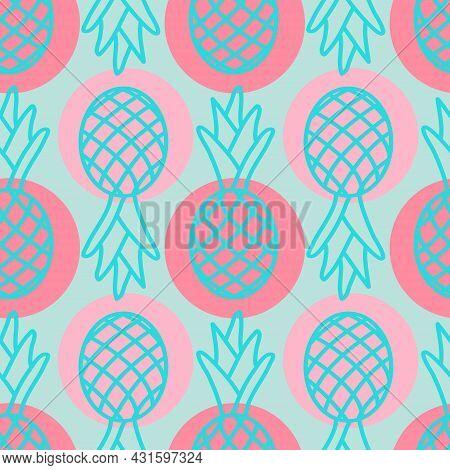 Tropical Pineapple Seamless Pattern, Cute Summer Background Pineapple Pink Blue, Cute Repeating Patt