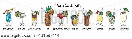 Collection Set Of Classic Rum Based Cocktails Cuba Libre, Mojito, Tiki, Pina Colada, Maitai, Zombie,