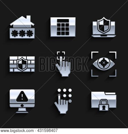 Set Fingerprint, Password Protection, Folder And Lock, Eye Scan, Monitor With Exclamation Mark, Shie