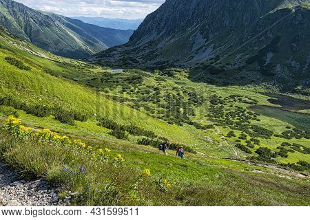 Tourists People In Rackova Valley, Western Tatras Mountains, Slovak Republic. Hiking Theme.