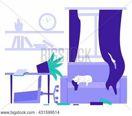 Dirty Room At Home, Chaos In House From Cat. Untidy Home, Clutter. Vector