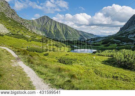 Bystra Peak And Mountain Lakes, Western Tatras Mountains, Slovak Republic. Hiking Theme.