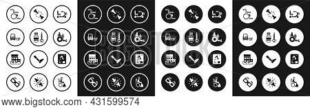 Set Electric Wheelchair, Syringe, Disabled Car, Wheelchair, Human Broken Bone, X-ray Shots And Medic