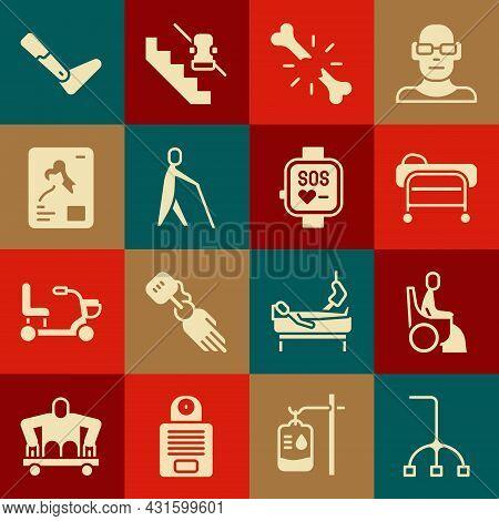Set Walking Stick Cane, Woman Wheelchair, Stretcher, Human Broken Bone, Blind Human Holding, X-ray S