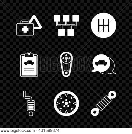 Set First Aid Kit And Warning Triangle, Gear Shifter, Car Muffler, Alloy Wheel, Shock Absorber, Insp