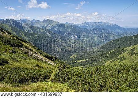 Maple Valley From Wide Saddle, High Tatras, Slovak Republic. Hiking Theme. Seasonal Natural Scene.