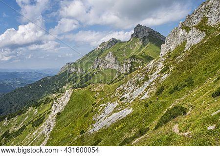 Hiking In The Belianske Tatras Mountain, Slovakia Republic. Seasonal Natural Scene. Travel Destinati