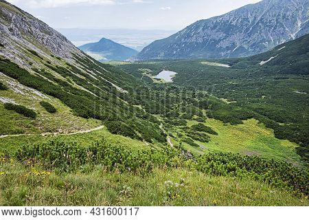 Great White Mountain Lake, Belianske Tatras Mountain, Slovakia Republic. Seasonal Natural Scene. Tra