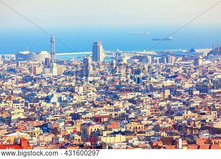 Barcelona City Panorama . Mediterranean Sea Coastline And Port . L'hospitalet De Llobregat District