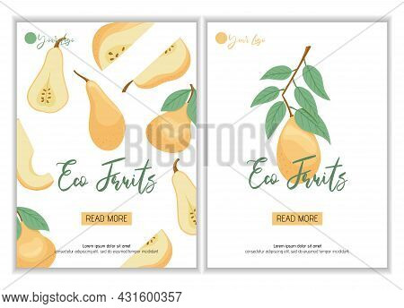 Veggie Pear Eco Fruits Poster Design. Vector Pears In Cartoon Style. Bright Pear Fruits.