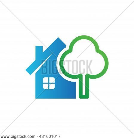Home Tree Icon. Home Vector Isolated On White Background. House Logo. House Tree Vector. Home Illust