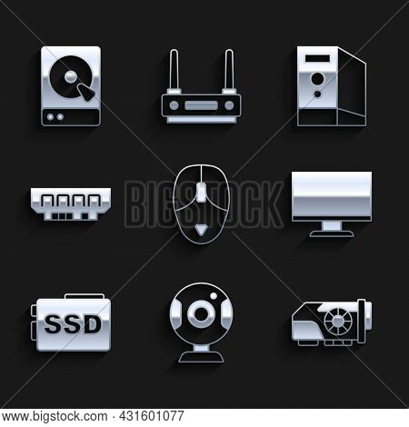 Set Computer Mouse, Web Camera, Video Graphic Card, Monitor Screen, Ssd, Ram, Random Access Memory,