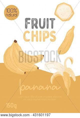 Fruit Banana Chips Packaging Card Design. Sweet Banana Fruits Vector Hand Drawn Poster Concept.
